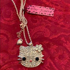New Betsy Johnson Hello Kitty Pendant & Necklace